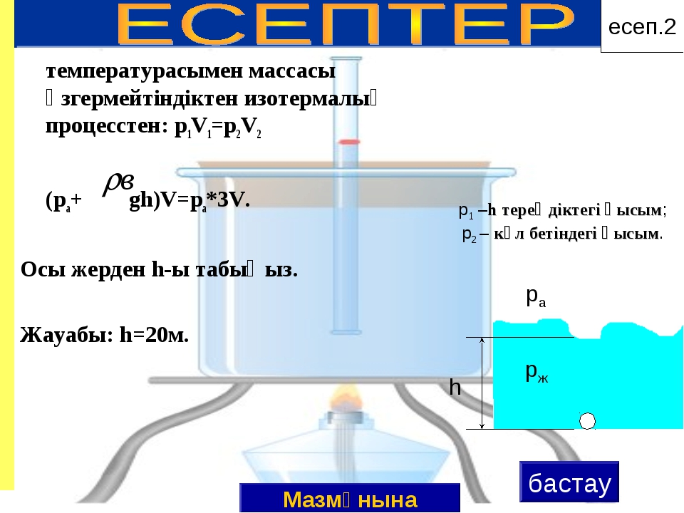 температурасымен массасы өзгермейтіндіктен изотермалық процесстен: p1V1=p2V2...
