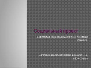 Социальный проект «Профилактика и коррекция девиантного поведения учащихся» П