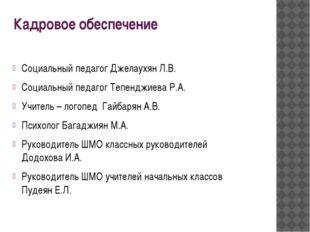 Кадровое обеспечение Социальный педагог Джелаухян Л.В. Социальный педагог Теп