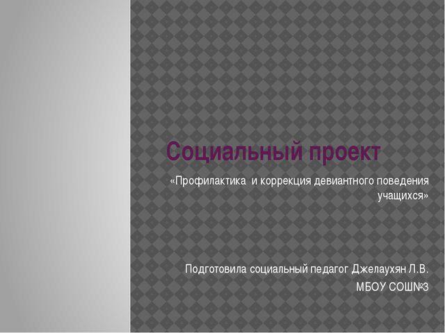 Социальный проект «Профилактика и коррекция девиантного поведения учащихся» П...