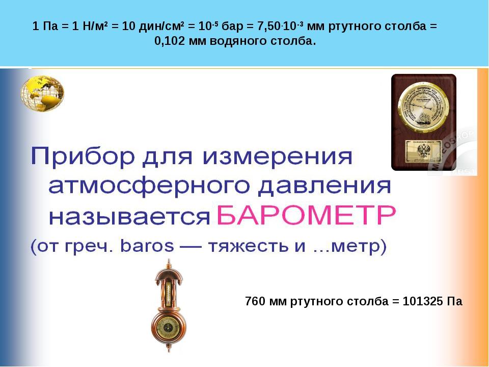 Новожилова Т.Ю. * 1 Па = 1 Н/м2 = 10 дин/см2 = 10-5 бар = 7,50.10-3 мм ртутно...
