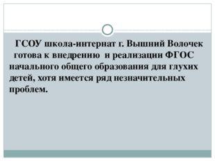 ГСОУ школа-интернат г. Вышний Волочек готова к внедрению и реализации ФГОС н