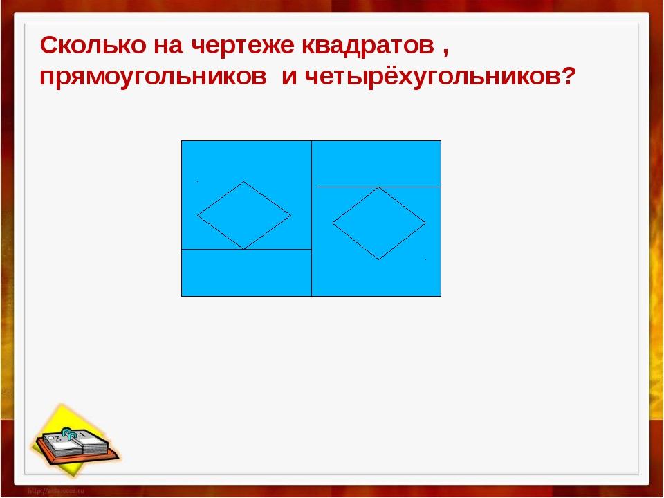 Сколько на чертеже квадратов , прямоугольников и четырёхугольников?