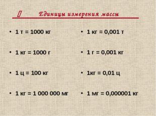 Единицы измерения массы 1 т = 1000 кг 1 кг = 1000 г 1 ц = 100 кг 1 кг = 1000