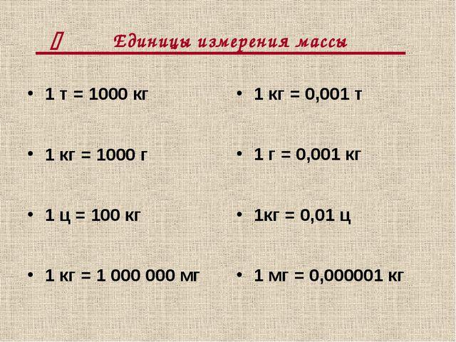 Единицы измерения массы 1 т = 1000 кг 1 кг = 1000 г 1 ц = 100 кг 1 кг = 1000...