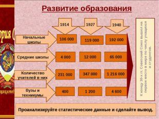 К концу 30-х гг. Советский Союз вышел на первое место в мире по числу учащих