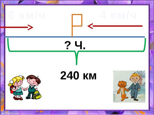 6 км/ч 4 км/ч 240 км ? Ч.