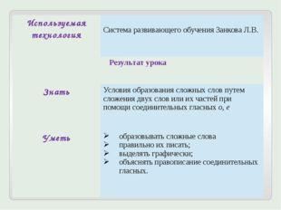 Используемая технология Система развивающего обучения Занкова Л.В. Результат