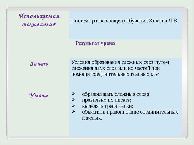 Используемая технология Система развивающего обучения Занкова Л.В. Результат...
