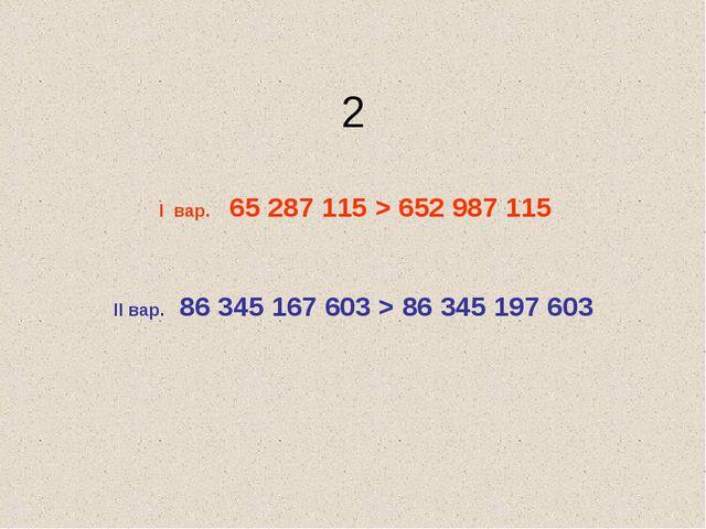 2 I вар. 65 287 115 > 652 987 115 II вар. 86 345 167 603 > 86 345 197 603