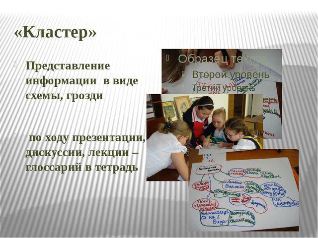 «Кластер» Представление информации в виде схемы, грозди по ходу презентации,...