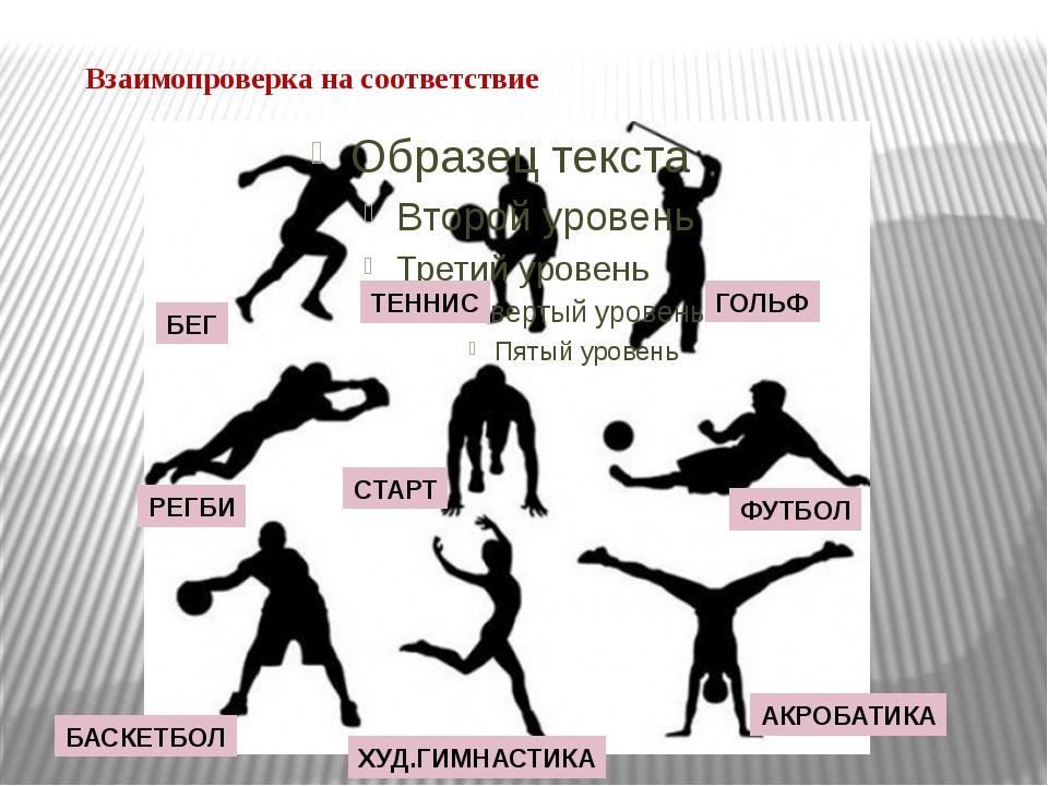 Взаимопроверка на соответствие БЕГ ТЕННИС ГОЛЬФ РЕГБИ СТАРТ ФУТБОЛ БАСКЕТБОЛ...