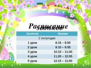 Расписание звонков Занятие Время 2 полугодие 1 урок 8.15 –9.00 2 урок 9.10–9.