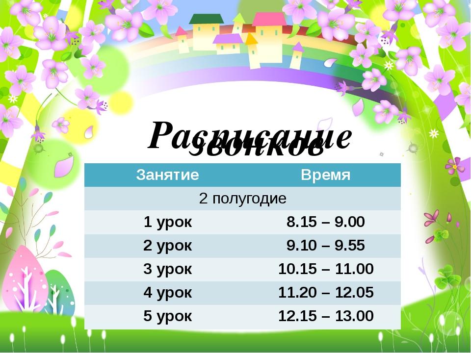 Расписание звонков Занятие Время 2 полугодие 1 урок 8.15 –9.00 2 урок 9.10–9....