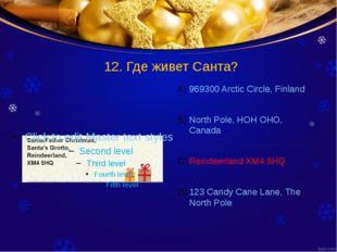 12. Где живет Санта? 969300 Arctic Circle, Finland North Pole, HOH OHO, Canad