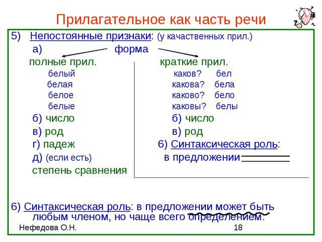 Прилагательное как часть речи 5) Непостоянные признаки: (у качаственных прил....