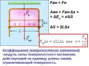 Fвн = Fн Aвн=Fвн·Δx= =ΔEp=σΔS ΔS=2LΔx Коэффициент поверхностного натя