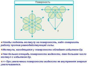 Чтобы поднять молекулу на поверхность, надо совершить работу против равнодейс