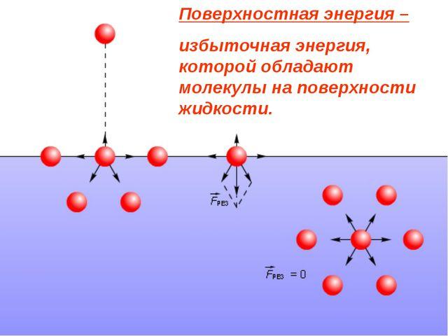Поверхностная энергия – избыточная энергия, которой обладают молекулы на пове...