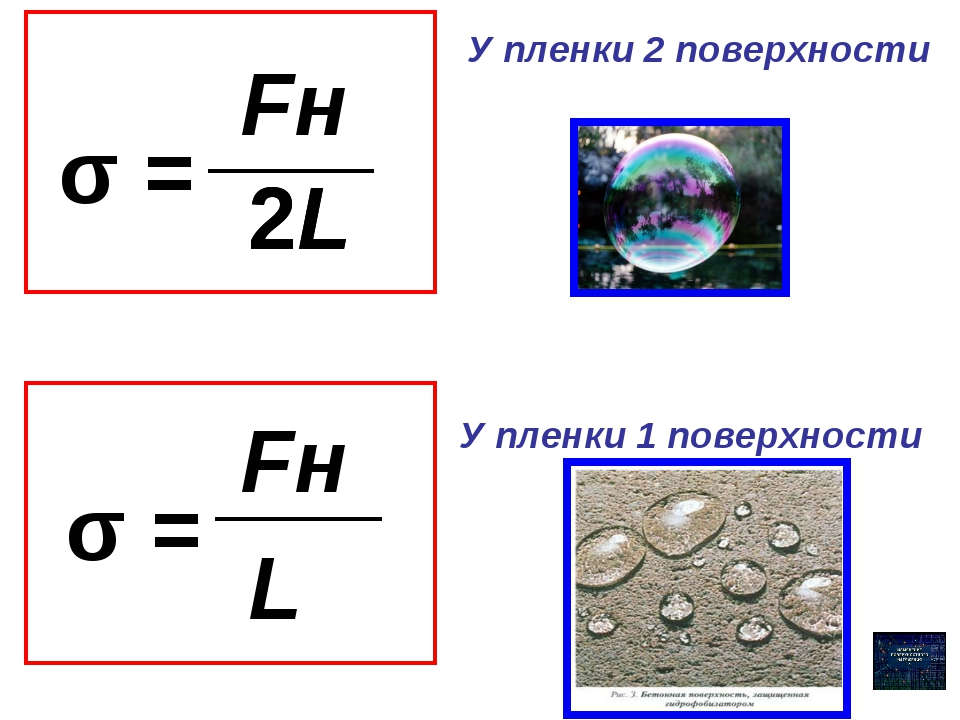 σ = Fн 2L 2L σ = Fн L У пленки 2 поверхности У пленки 1 поверхности