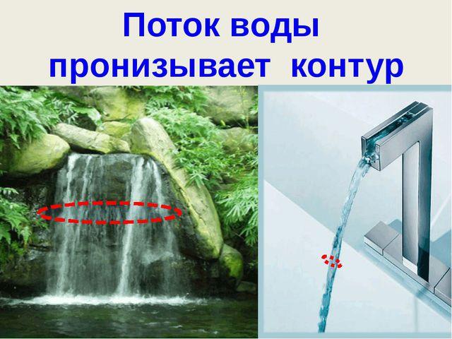 Поток воды Поток воды пронизывает контур