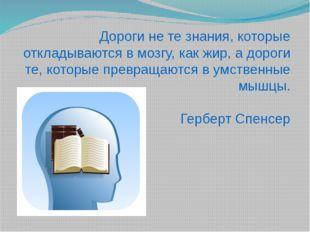 Дороги не те знания, которые откладываются в мозгу, как жир, а дороги те, кот