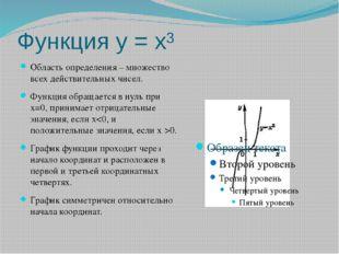 Функция у = х³ Область определения – множество всех действительных чисел. Фун