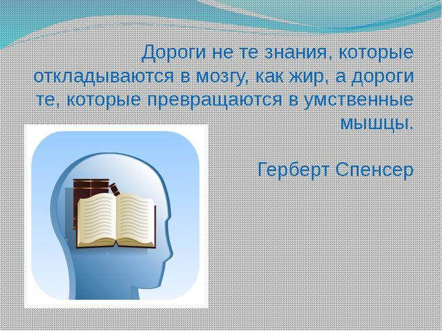 Дороги не те знания, которые откладываются в мозгу, как жир, а дороги те, кот...