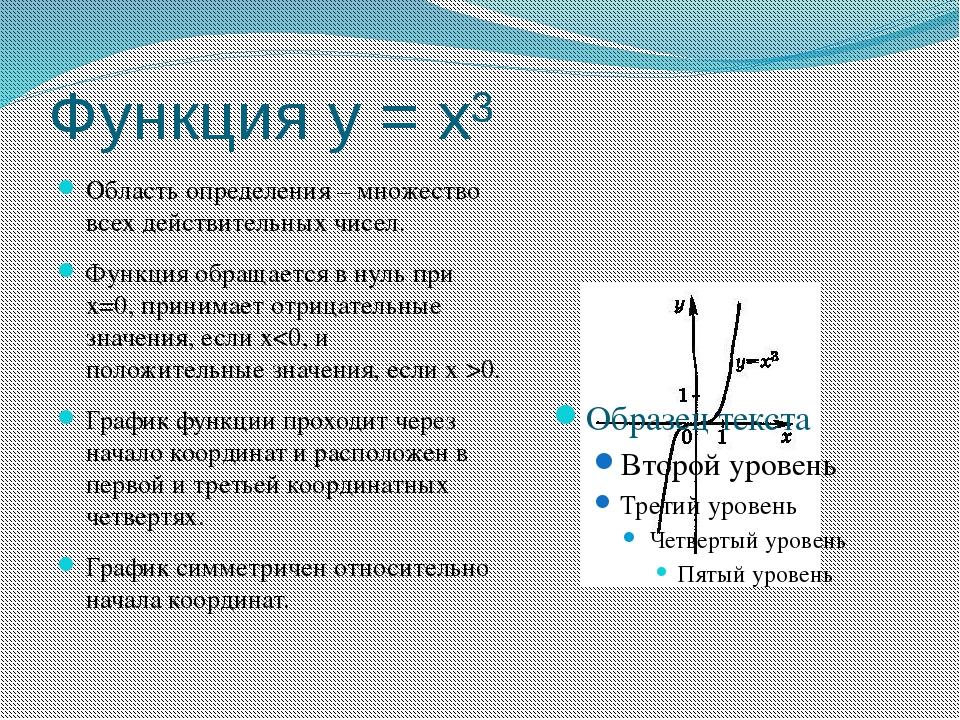 Функция у = х³ Область определения – множество всех действительных чисел. Фун...