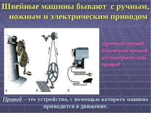 Швейные машины бывают с ручным, ножным и электрическим приводом Привод – это