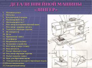 ДЕТАЛИ ШВЕЙНОЙ МАШИНЫ «ЗИНГЕР» Маховое колесо Моталка Катушечный стержень Нит