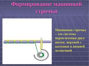 Машинная строчка – это система переплетения двух ниток: верхней с катушки и н