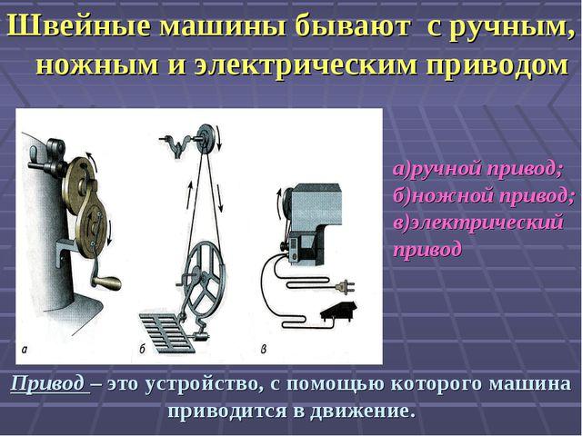 Швейные машины бывают с ручным, ножным и электрическим приводом Привод – это...