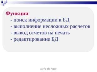 """БОУ ЧР СПО """"ЧЭМК"""" Функции: - поиск информации в БД - выполнение несложных рас"""