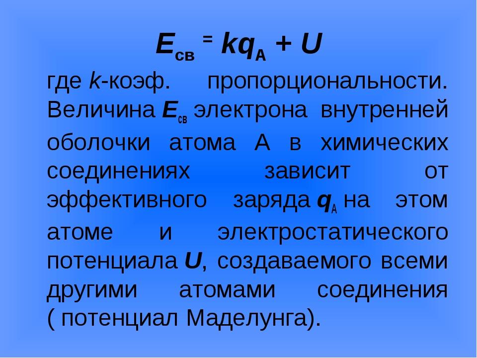 Eсв=kqА+U гдеk-коэф. пропорциональности. ВеличинаEсвэлектрона внутре...