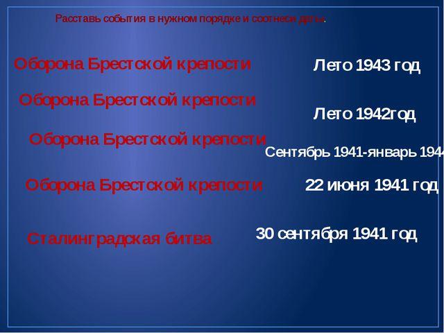 Расставь события в нужном порядке и соотнеси даты. Оборона Брестской крепости...