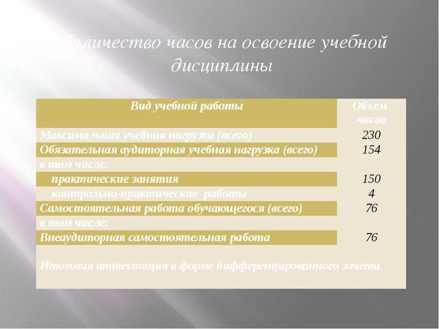 Количество часов на освоение учебной дисциплины Вид учебной работы Объем часо...