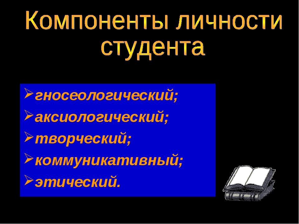 гносеологический; аксиологический; творческий; коммуникативный; этический.