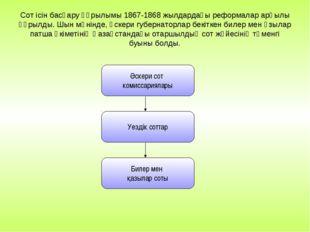 Сот ісін басқару құрылымы 1867-1868 жылдардағы реформалар арқылы құрылды. Шын