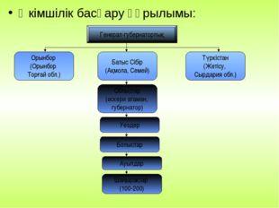 Әкімшілік басқару құрылымы: Генерал-губернаторлық Орынбор (Орынбор Торғай обл