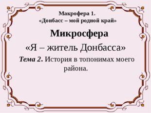 Макрофера 1. «Донбасс – мой родной край» Микросфера «Я – житель Донбасса» Т