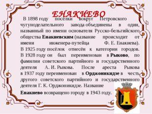 ЕНАКИЕВО  В1898году посёлки вокруг Петровского чугуноделательного завода