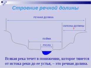 Строение речной долины Всякая река течет в понижении, которое тянется от исто