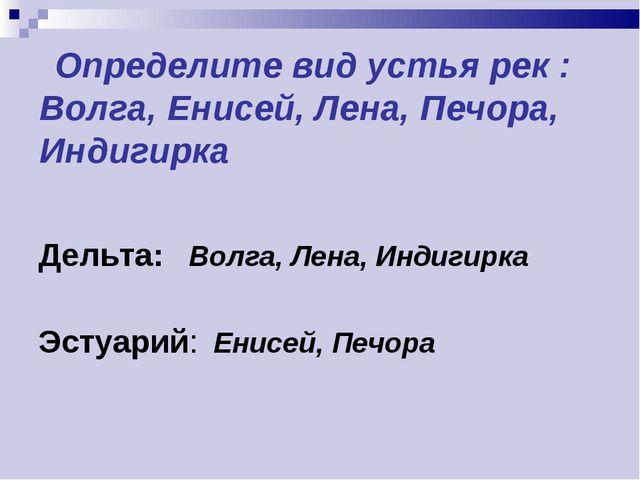 Определите вид устья рек : Волга, Енисей, Лена, Печора, Индигирка Дельта: Во...