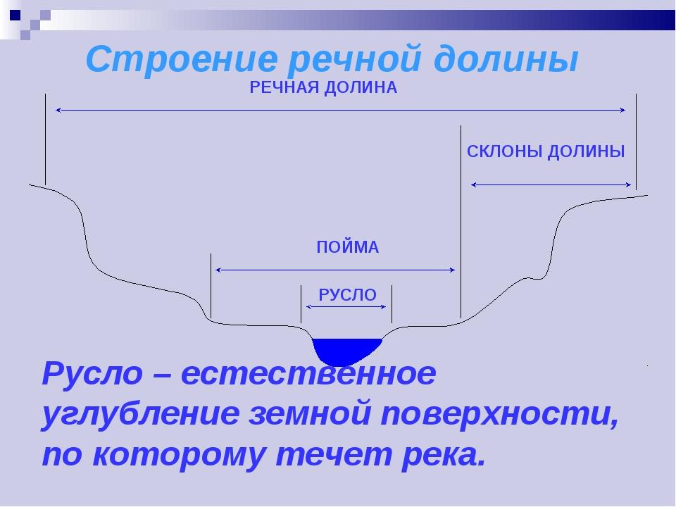 Русло – естественное углубление земной поверхности, по которому течет река....