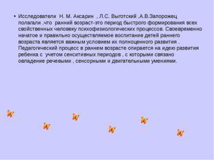 Исследователи Н. М. Аксарин , Л.С. Выготский ,А.В.Запорожец полагали ,что ра