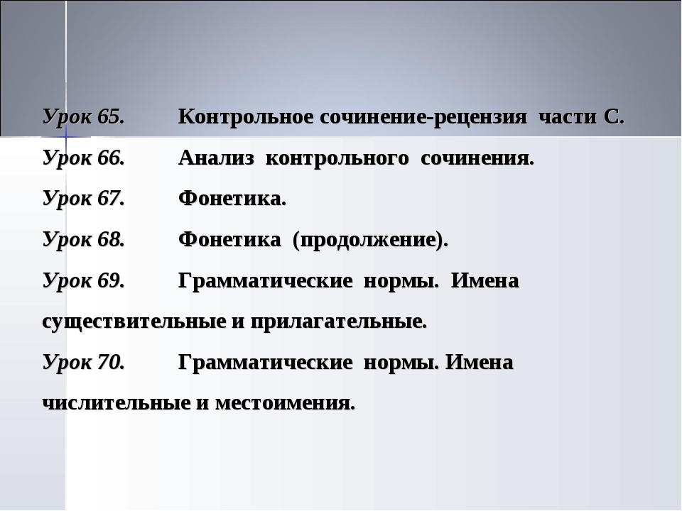 Урок 65.Контрольное сочинение-рецензия части С. Урок 66.Анализ контрольного...