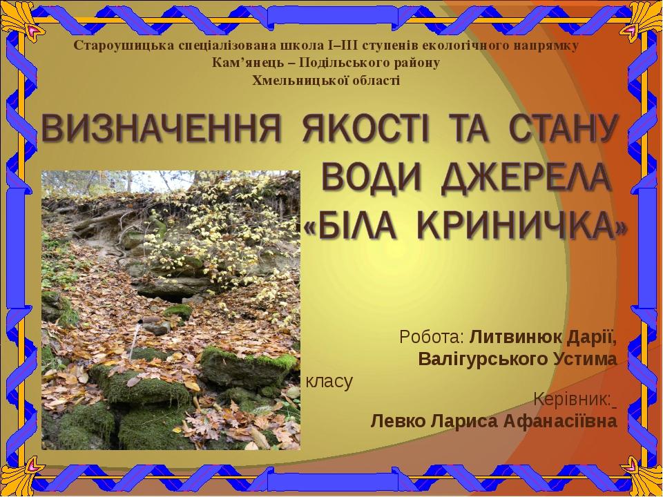 Робота: Литвинюк Дарії, Валігурського Устима учнів 4 класу Керівник: Левко Ла...