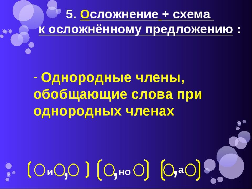 5. Осложнение + схема к осложнённому предложению : Однородные члены, обобщающ...