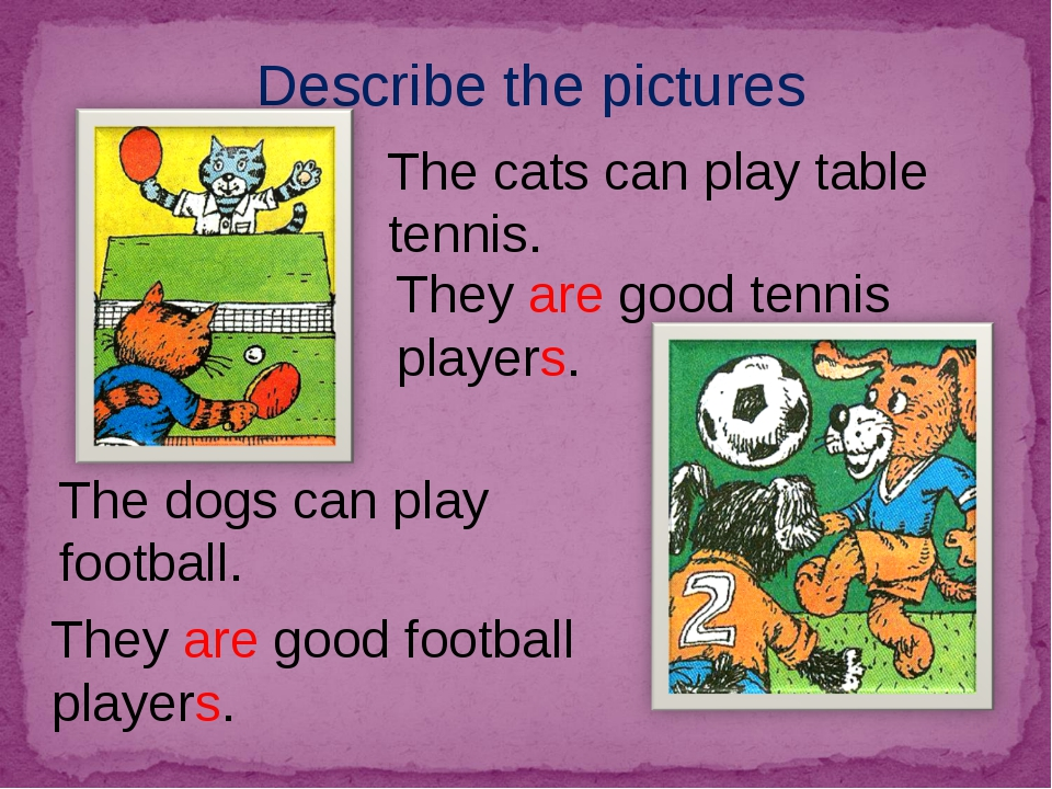 Describe the pictures The dogs can play football. The cats can play table ten...